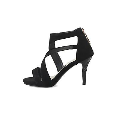 abierta en Morado Rojo 06857002 Tacón Sandalias Negro PU Verano Zapatos Puntera el Stiletto Mujer Tira Tobillo qOwISP