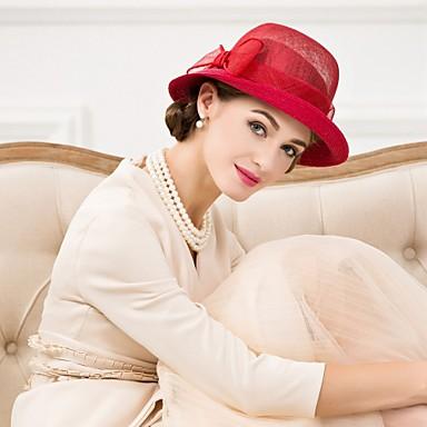 voordelige Hoeden-Vlechtwerk / Vlas Kentucky Derby Hat / hatut met 1 Bruiloft / Speciale gelegenheden  / Causaal Helm