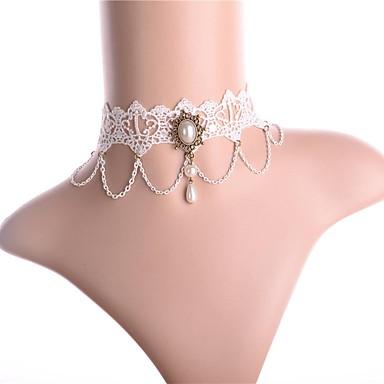 Collier Choker / Ras de Cou Femme Classique Imitation de perle Dentelle Rétro Vintage Doux Adorable Blanc 32 cm Colliers Tendance Bijoux 1pc pour Rendez-vous Festival Rond
