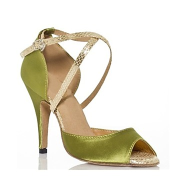baratos Sapatos de Samba-Mulheres Cetim Sapatos de Dança Latina / Sapatos de Samba Presilha Salto Salto Alto Magro Personalizável Verde Tropa / Espetáculo / Couro