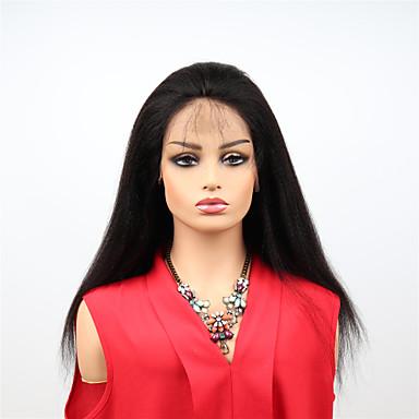 billige Blondeparykker med menneskehår-Remy-hår Helblonde Wig Brasiliansk hår Kinky Curly Parykk Asymmetrisk frisyre 130% / 150% Dame / Lett dressing / sexy Lady Svart Dame Veldig lang Blondeparykker med menneskehår