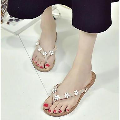 Sandalias 06857050 Verano Confort Rosa PU Zapatos Verde Tacón Plano Mujer Beige aR4HTT