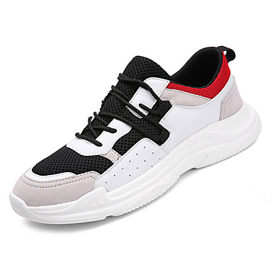 Men's Comfort Shoes Mesh Shoes / PU(Polyurethane) Fall Athletic Shoes Mesh Running Shoes Color Block White / Black / Gray 783134
