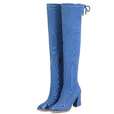 hiver Toile Western de Femme Automne Bottes pointu Cowboy Cuissarde Noir Gris Soirée Evénement jean Bottier amp; 06869912 Talon Bleu Boots Bout 4FxxS0nw