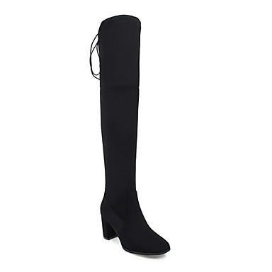 Automne Amande Daim 06857428 Bottier Confort hiver Femme Talon Chaussures Noir Bottes 7qZUEFw