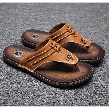 저렴한 해변으로 출발-남성용 구두 가죽 여름 슬리퍼 플립 플롭 일상 / 홈 용 블랙 / 옐로우 / 블루