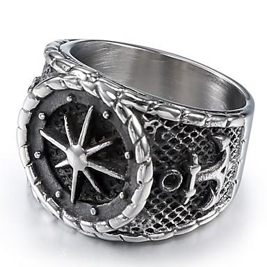 voordelige Herensieraden-Heren Ring Zegelring 1pc Zilver Roestvrij staal Rond Stijlvol Vintage Punk Dagelijks Straat Sieraden Vintagestijl Sculptuur Anker Cool