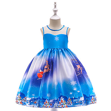 cheap Gilrs' Party Dresses-Kids / Toddler Girls' Vintage / Active Christmas / Party / Holiday Patchwork Sleeveless Knee-length Dress Blue