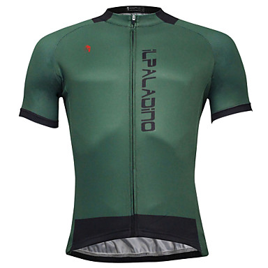 ... ILPALADINO Men s Short Sleeve Cycling Jersey Dark Green Solid Color Bike  Jersey Top Quick Dry f994e3048