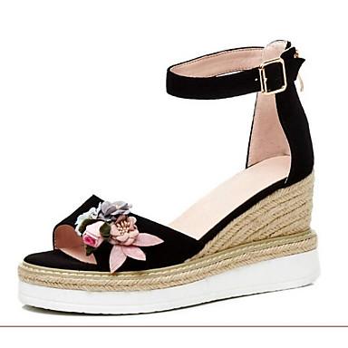 voordelige Damessandalen-Dames Sandalen Comfort schoenen Sleehak Suède Zomer Zwart / Groen