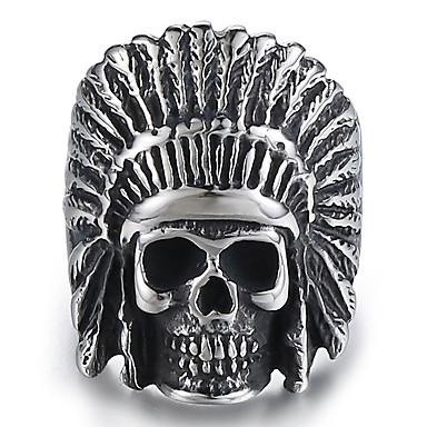 voordelige Herensieraden-Heren Ring 1pc Zilver Titanium Staal Rond Onregelmatig Stijlvol Vintage Punk Carnaval Straat Sieraden Vintagestijl Sculptuur Gegraveerd Schedel Veer Cool