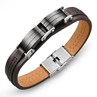 voordelige Herensieraden-Heren Lederen armbanden Klassiek modieus Koreaans Titanium Staal Armband sieraden Bruin Voor Dagelijks / Platina Verguld