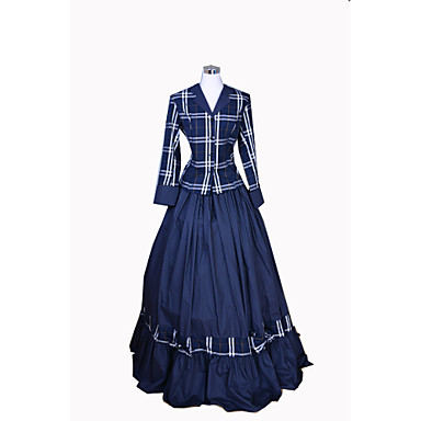 Rococo Victorian Costume Womens Dress Outfits Blue Vintage Cosplay