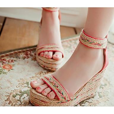 cheap Going to the beach-Women's Sandals Wedge Sandals Wedge Heel Synthetics Summer Blue / Pink / Almond