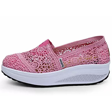 Női Sportcipők Kényelmes cipők Lapos Csipke Swing cipők Nyár Fekete / Sötétkék / Fukszia
