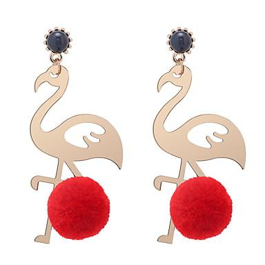 billige Moteøreringer-Dame Dråpeøreringer Skulptur Ball Ball Flamingo damer Europeisk Mote søt stil øredobber Smykker Rose / Rød / Grønn Til Avslappet 1 par