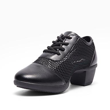 f9844503f2 Mulheres Tênis de Dança Com Transparência   Pele Têni Salto Grosso Sapatos  de Dança Branco   Preto