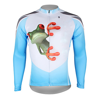 2ef177ceb ILPALADINO Men s Long Sleeve Cycling Jersey - Blue and White Frog Bike  Jersey Top Breathable Quick Dry Ultraviolet Resistant Sports 100% Polyester  Mountain ...