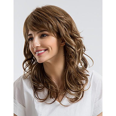 Human Hair Capless Wigs Human Hair Curly Asymmetrical Haircut Natural Hairline Brown Capless Wig Women's Daily Wear