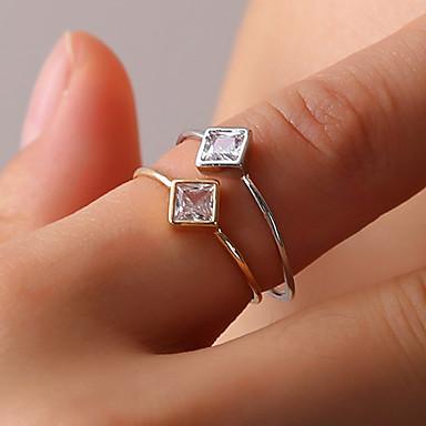 billige Motering-Dame Ring Tail Ring Onyks Krystall 1pc Gull Sølv Østerrisk krystall Legering Firkantet damer Enkel Geometrisk Daglig Ut på byen Smykker Elegant Solitaire Kreativ Søtt