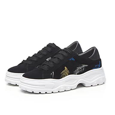 Women's Comfort Shoes Suede / Heel Cowhide Fall Sneakers Low Heel / Square Toe Black 9d5ead
