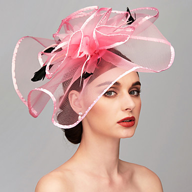 abordables Coiffes-Plume / Filet Kentucky Derby Hat / Fascinators / Casque avec Plume / Fleur 1pc Mariage / Occasion spéciale Casque