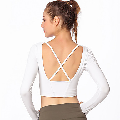 ff0fe23732d711 GOSOU≡R Women s Crew Neck Cross Back Yoga Top White Black Red Sports Solid  Color