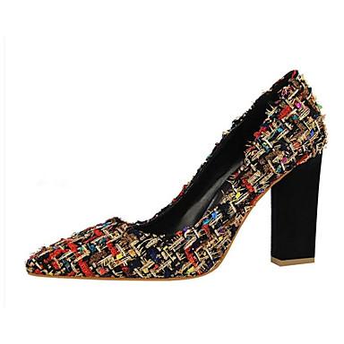 Women's Chunky Pumps Canvas Winter Heels Chunky Women's Heel Black / Almond b78dce