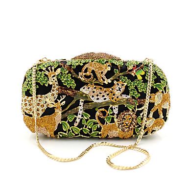 billige Vesker-Dame Krystalldetaljer / Uthult Legering Aftenveske Rhinestone Crystal Evening Bags Dyr Svart / Høst vinter