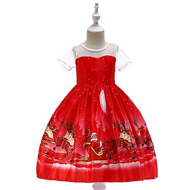 رخيصةأون ملابس الأميرات-فستان طول الركبة كم قصير كارتون مناسب للحفلات / مناسب للعطلات عتيق / رياضي Active للفتيات أطفال / طفل صغير