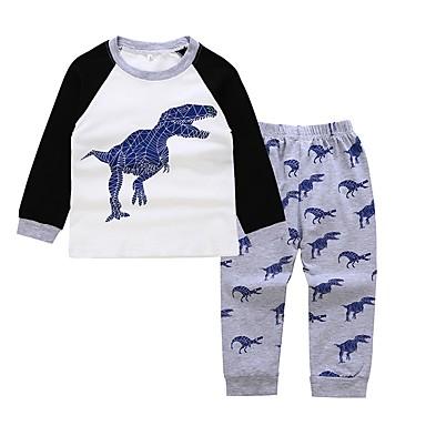 0a9742a310b1 Kids   Toddler Boys  Active   Basic Daily   Sports Dragon Print Print Long  Sleeve Regular Cotton   Polyester Clothing Set Gray