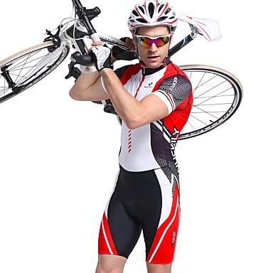 dcb535764 Nuckily Men s Short Sleeve Triathlon Tri Suit - Red Geometic Bike Breathable