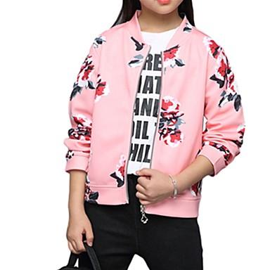 490d4c03c00 Παιδιά Κοριτσίστικα Βασικό Καθημερινά Στάμπα Μακρυμάνικο Μακρύ Πολυεστέρας  Μπουφάν & Παλτό Ανθισμένο Ροζ