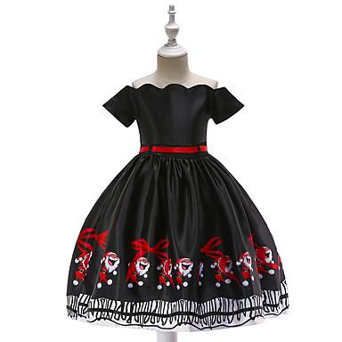 baratos Princesa-Infantil Bébé Para Meninas Vintage Activo Natal Festa Feriado Desenho Animado Manga Curta Altura dos Joelhos Vestido Preto