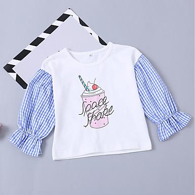 baratos Moletons Para Meninas-Bébé Para Meninas Básico Moda de Rua Diário Feriado Estampado Estampado Manga Longa Curto Algodão Moleton & Blusa de Frio Branco