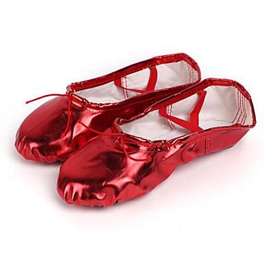 Per Donna Scarpe Da Danza Classica Pu (poliuretano) Sneaker Piatto Scarpe Da Ballo Nero - Rosso #06932013