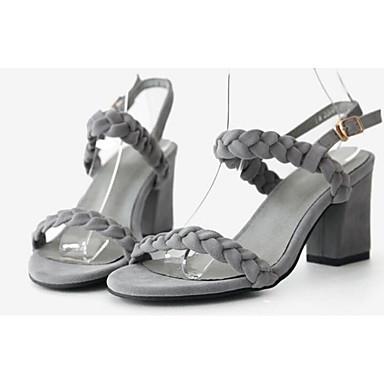 رخيصةأون صنادل نسائية-نسائي صنادل أحذية الراحة كتلة كعب فرو ظبي الصيف أسود / رمادي / اللوز