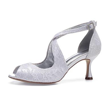 Mulheres Sapatos Confortáveis Renda / Cetim Primavera Verão Sapatos De Casamento Salto Carretel Peep Toe Gliter com Brilho Branco / Ivory / Festas & Noite