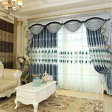 rideau occultant panneau 2 w140cm l259cm bleu bleu ciel chambre coucher rideaux tentures. Black Bedroom Furniture Sets. Home Design Ideas