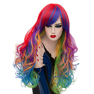 01deb0cddba Cosplay Wigs / Synthetic Wig Curly Minaj Style Middle Part Capless Wig Red  Rainbow Synthetic Hair 26 inch Women's Fashionable Design / Sexy Lady Red /  Blue ...