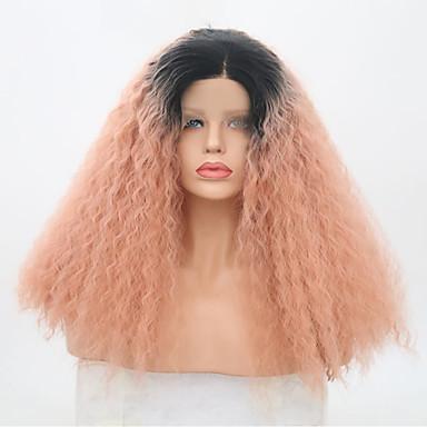 povoljno Perike i ekstenzije-Prednja perika od sintetičkog čipke Kinky Curly Senegal Stil Srednji dio Lace Front Perika Pink Black / Pink Sintentička kosa 22 inch Žene Prilagodljiv Otporan na toplinu Party Pink Perika Dug / Da