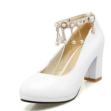 voordelige Dameshakken-Dames Comfort schoenen PU Lente Hoge hakken Blokhak Zwart / Rood / Roze / Bruiloft / Dagelijks