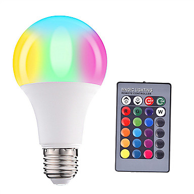 HRY 1pc 5W 500lm E26 / E27 Bombillas LED de Globo A60(A19) 15 Cuentas LED SMD 5050 Regulable Decorativa Control Remoto RGBW 85-265V