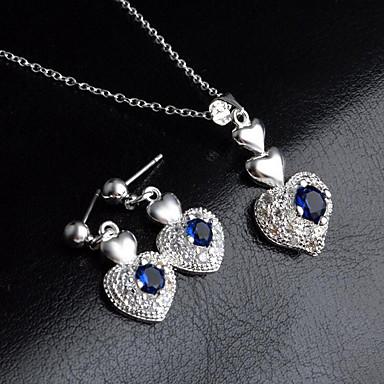 d7b976e29 Dámské Modrá Kubický zirkon drobný diamant Klasika Šperky Set Postříbřené  Srdce dámy, stylové, Jednoduchý, Visací Zahrnout Visací náušnice  Náhrdelníky s ...