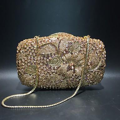 billige Vesker-Dame Krystalldetaljer / Uthult Legering Aftenveske Rhinestone Crystal Evening Bags Helfarge Champagne / Høst vinter