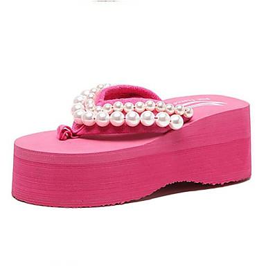 voordelige Damespantoffels & slippers-Dames Comfort schoenen PU Lente zomer Slippers & Flip-Flops Platte hak Wit / Zwart / Fuchsia