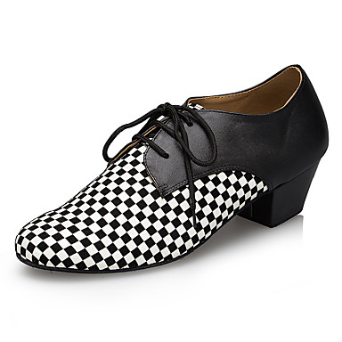 baratos Shall We® Sapatos de Dança-Homens Sapatos de Dança Couro Sintético Sapatos de Dança Moderna Recortes Têni Salto Grosso Preto