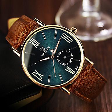 baratos Relógios Homem-YAZOLE Homens Relógio de Pulso Quartzo Couro Marrom Relógio Casual Analógico Clássico Casual Aristo Relógio simples - Preto Azul Verde Escuro Um ano Ciclo de Vida da Bateria / Aço Inoxidável