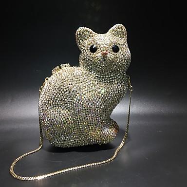 billige Vesker-Dame Krystalldetaljer / Uthult Legering Aftenveske Rhinestone Crystal Evening Bags Helfarge Gull / Høst vinter