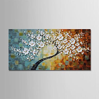 Hang-malované olejomalba Ručně malované - Květinový / Botanický motiv Moderní Obsahovat vnitřní rám / Reprodukce plátna
